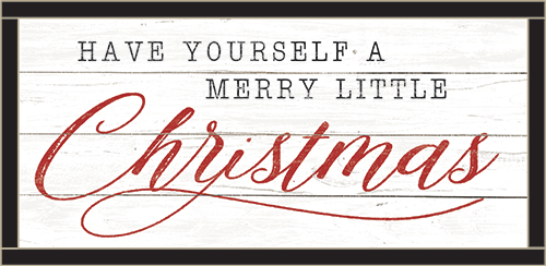 Framed Wood Sign - Little Christmas – RED..- 12x24