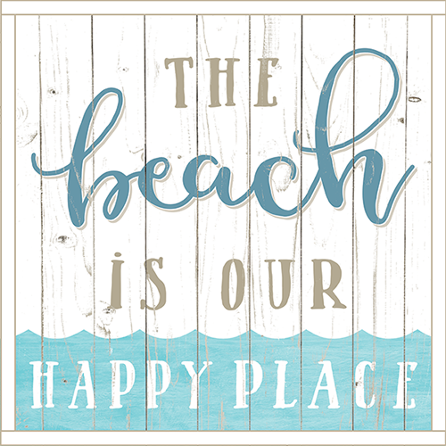 Framed Wood Sign - The Beach Is Our Happy Place..- 24x24