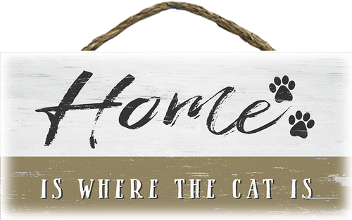 Hanging Wood Sign - Home Is Where The Cat Is