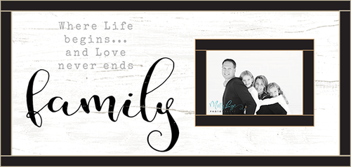 Sentimental Wood Picture Frame with Photo Insert - Where Life Begins And Love Never Ends Family..24 x 12