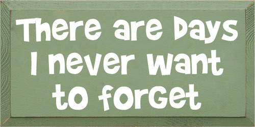 9x18 Sage board with White text  There are days I never want to forget