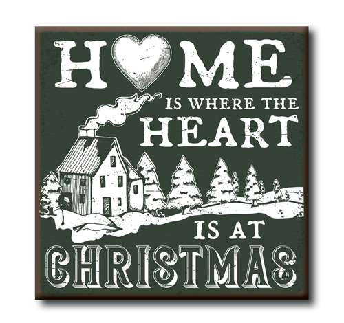 Wood Sign - Home Is Where The Heart Is At Christmas - 4x4