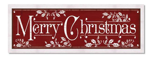 Merry Christmas - Red and White Framed Wood Sign - 9x28