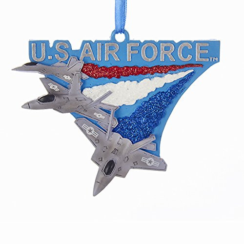 Air Force Jet Ornament Flat Cross Into The Blue Red White Blue 4""