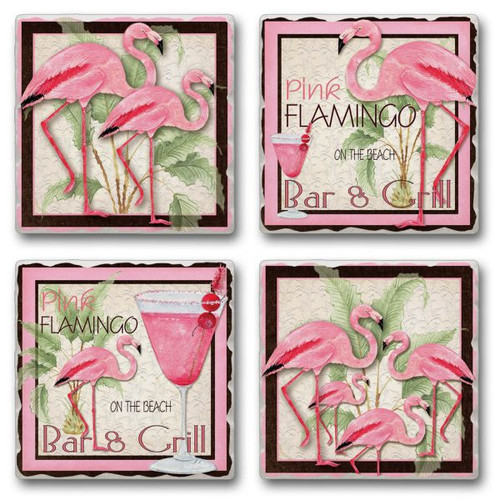 Tile Coasters - Pink Flamingo Bar & Grill - Set of 4