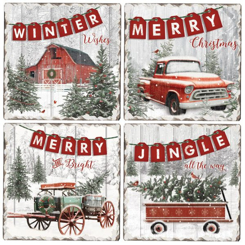 Tile Coasters - Country Christmas - Set of 4