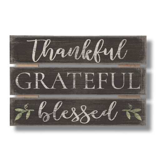 Thankful Grateful Blessed - Wood Sign 12x8
