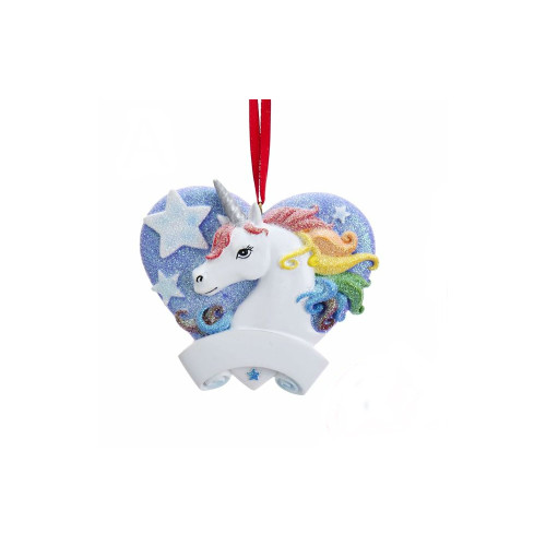 Blue Glitter Mystical Rainbow Magic Unicorn With Heart Ornament For Personalization 3 in.