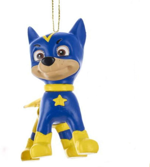 Chase Paw Patrol Superhero Kids Ornament 3.5 Inch. Blue and Yellow Chase is on the Case Superhero Outfit