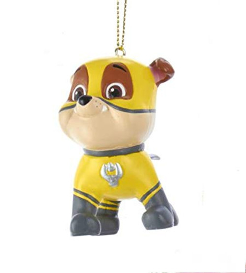 Rubble On The Double! Paw Patrol™ 3.5 Inch ornament! Rubble On The Double in his yellow Superhero Outfit with Cape