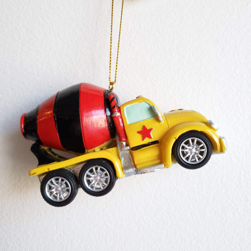 Kids Construction Vehicle Ornament - Cement Truck