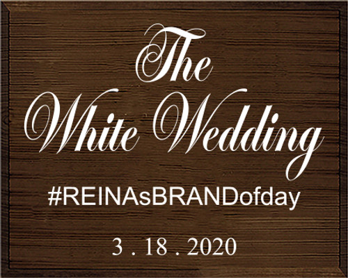 24x30 Walnut Stain board with White  The White Wedding