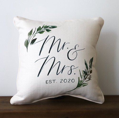 Mr & Mrs with Established Year and Greenery - Personalized Square Pillow 16 x 16