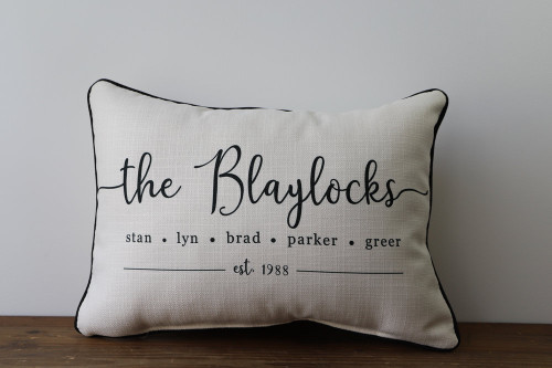Family Names and Established Year - Personalized Square Pillow 12 x 20