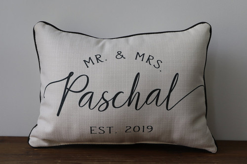 Mr & Mrs Last Name and Established Year - Personalized Square Pillow 12 x 20