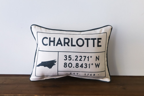 City/Town with Coordinates and Established Year - Personalized Pillow 12 x 20