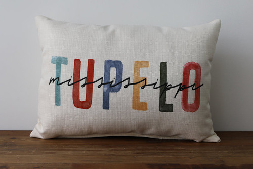 Colorful City and State Watercolor Style - Personalized Pillow 12 x 20