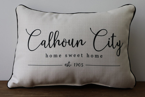 Your City - Home Sweet Home with Established Year - Personalized Pillow 12 x 20