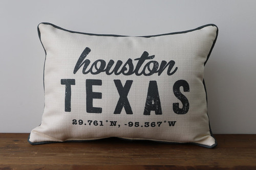 Your City, State with Coordinates - Personalized Pillow 12 x 20