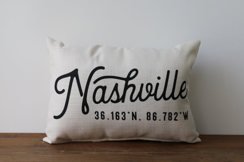 Your City with Coordinates - Personalized Pillow 12 x 20