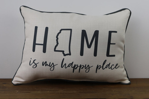 Home Is My Happy Place with State Outline - Personalized Pillow 12 x 20