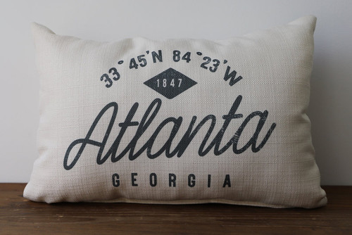 Your City and State with Established Year and Coordinates - Personalized Pillow 12 x 20