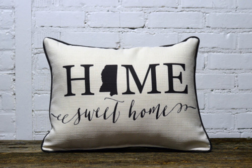 Home Sweet Home with State Graphic - Personalized Pillow 12 x 20