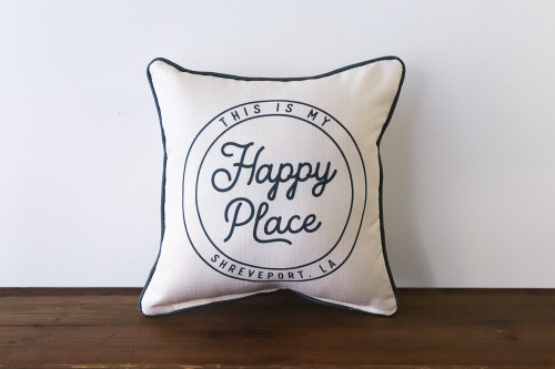 This Is My Happy Place with City, State - Personalized Square Pillow 16 x 16