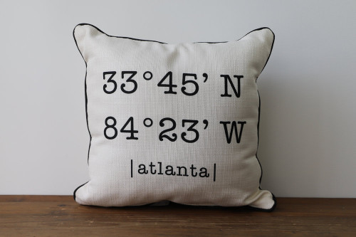 Coordinates with City Name - Personalized Square Pillow 16 x 16