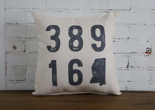 Zip Code with Image of State - Personalized Square Pillow 16 x 16