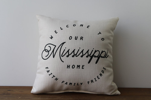 Welcome To Our Home with State - Personalized Square Pillow 16 x 16