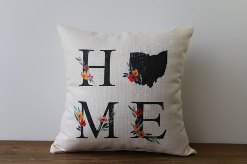 Floral Home with State - Personalized Square Pillow 16 x 16