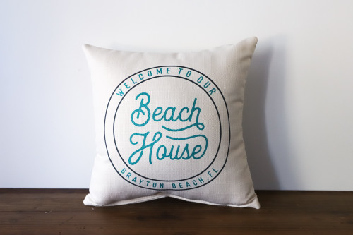 Welcome To Our Beach House with City, State - Personalized Square Pillow 16 x 16