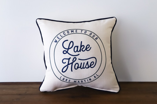 Welcome To Our Lake House with City, State - Personalized Square Pillow 16 x 16