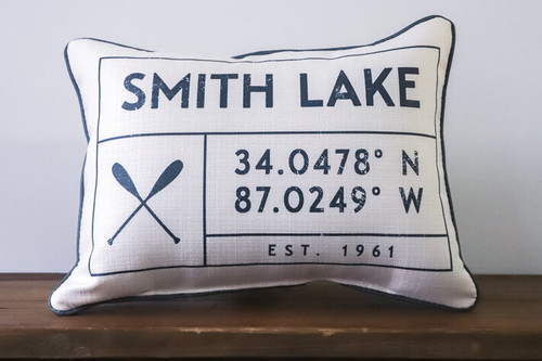 Lake Name with Coordinates and Established Year - Personalized Pillow 12 x 20