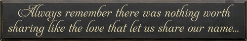 10x60 Charcoal board with Cream text  Always remember there was nothing worth sharing like the love that let us share our name...