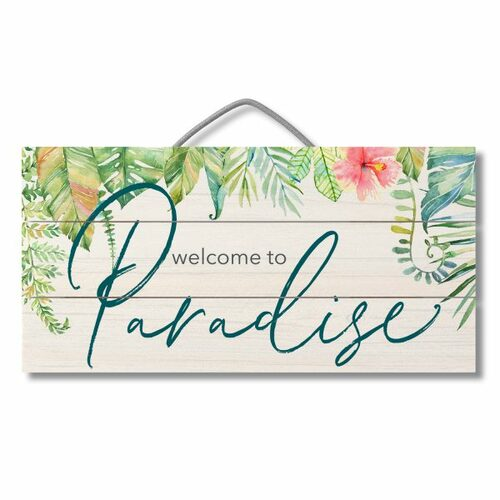 Wood Slatted Sign - Welcome To Paradise - 12 X 6