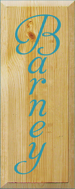 6x15 Poly board with Turquoise text  Barney