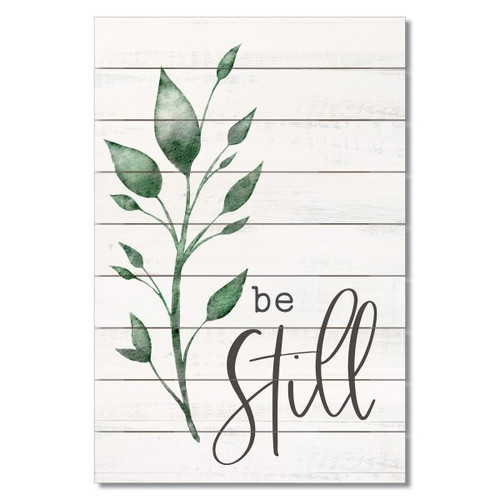 "Wood Slatted Sign - Be Still - 12"" x 18"""