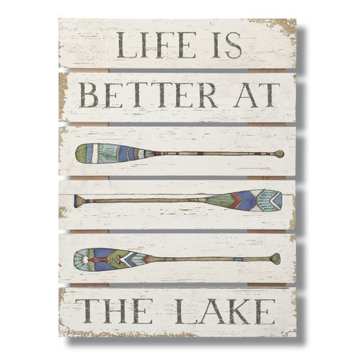 Life Is Better At The Lake with paddles graphic Wide Gap Pallet Wooden Sign
