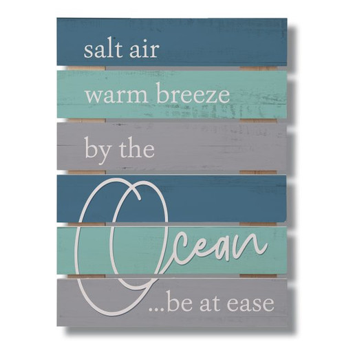 Salt Air Warm Breeze By The Ocean Be At Ease Wide Gap Pallet Wooden Sign