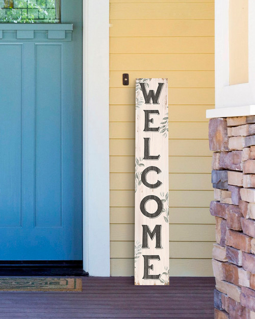 Outdoor Welcome Sign for Porch - Cream With Green Gray Leaves - Vertical Porch Board 8x47