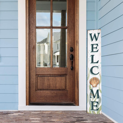 Outdoor Welcome Sign for Porch - Coastal Sea Shell - Vertical Porch Board 8x47 Beach House