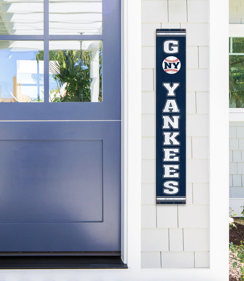Outdoor Welcome Sign for Porch Go Yankees - Vertical Porch Board 8x47 For New York Fans
