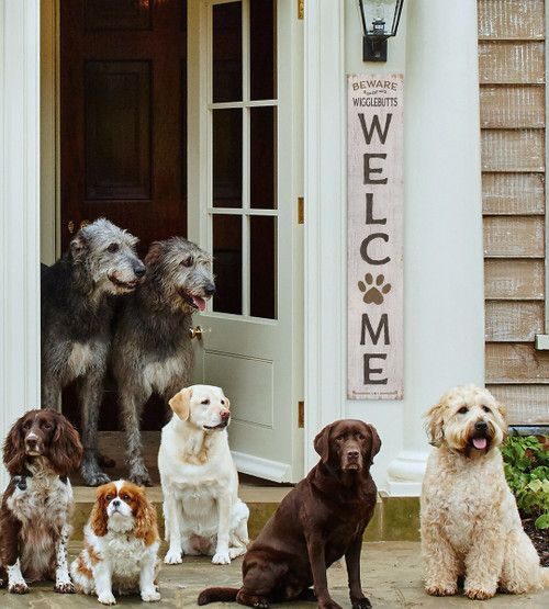 Outdoor Welcome Sign for Porch - Beware Wigglebutts - Vertical Porch Board 8x47 For Dog Owners