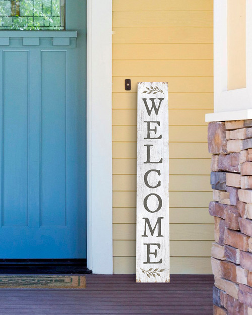 Outdoor Welcome Sign for Porch - White with Sprig - Vertical Porch Board 8x47