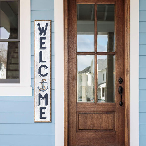 Outdoor Welcome Sign for Porch With Anchor - Vertical Porch Board 8x47 Nautical Theme