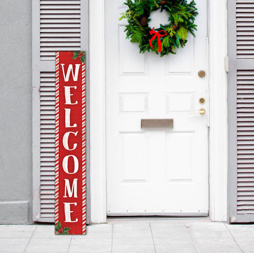 Outdoor Welcome Sign for Porch - Red Candy Cane and Holly Theme - Vertical Porch Board 8x47