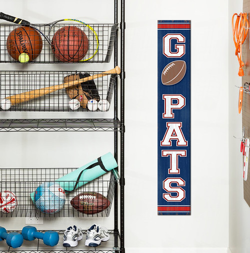 Outdoor Welcome Sign for Porch Go Pats - Vertical Porch Board 8x47 For Patriots Fans