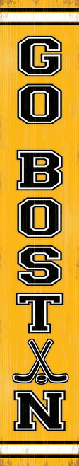 Outdoor Welcome Sign for Porch Go Boston - Vertical Porch Board 8x47 For Bruins Hockey Fans